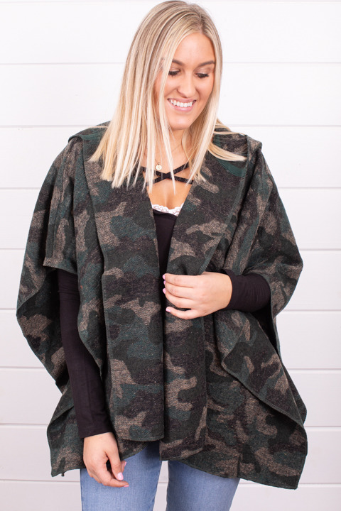 Mystree Hooded Camo Poncho