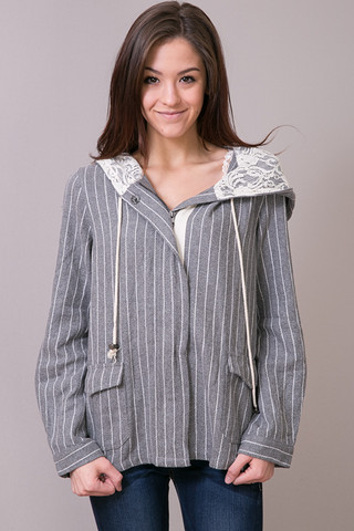Mystree Pin Stripe Boxy Jacket