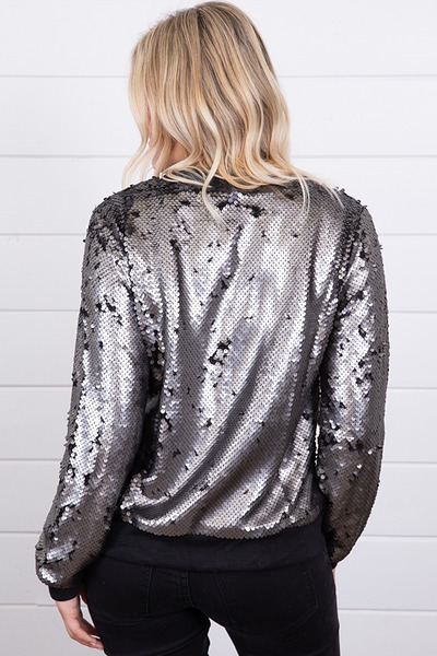 Mystree Sequin Bomber Jacket 4