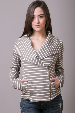 Mystree Stripe Terry Zip Jacket