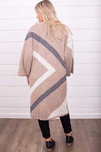 Mystree Taupe Colorblock Cardi 2