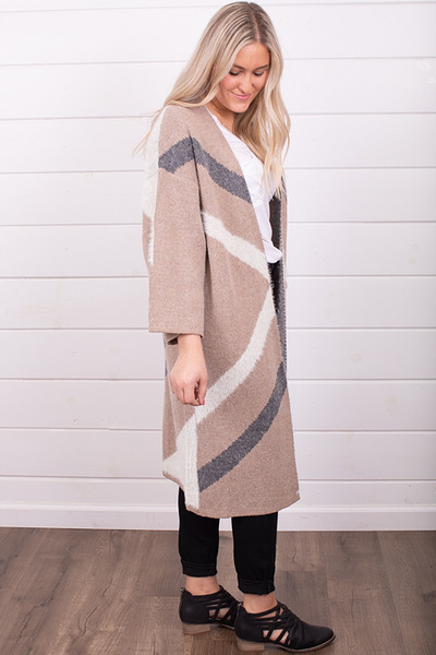 Mystree Taupe Colorblock Cardi 4