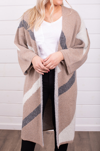 Mystree Taupe Colorblock Cardi 3