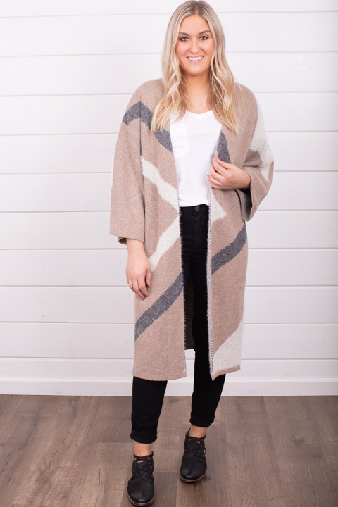 Mystree Taupe Colorblock Cardi