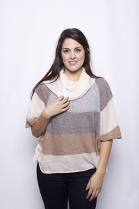 Floating Stripe Cowl Neck
