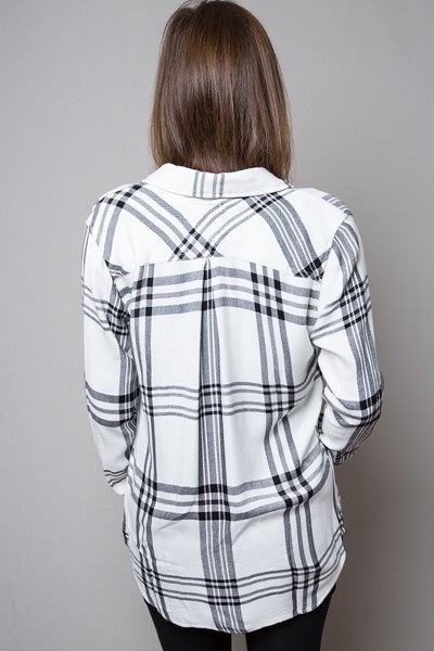 Rails Hunter Button Down White Black and Charcoal 4