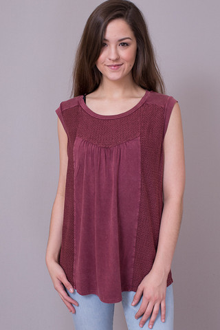 Mystree Washed Out Knit Top