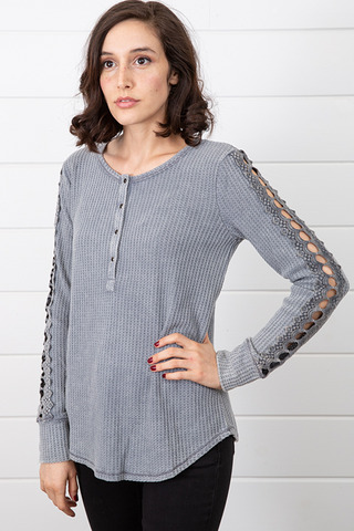 Mystree Washed Thermal Henley