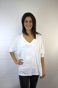 White V-Neck Oversized Tee