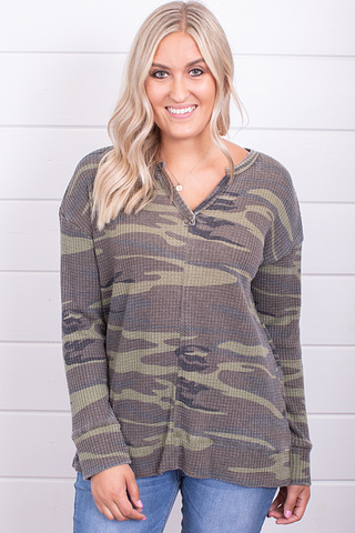Z Supply The Camo Thermal Split Neck Top