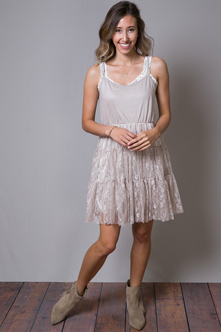 O2 Collection Mocha Lace Tulle Dress