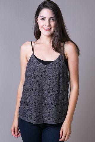 Heather by Bordeaux Slate Lace Cami