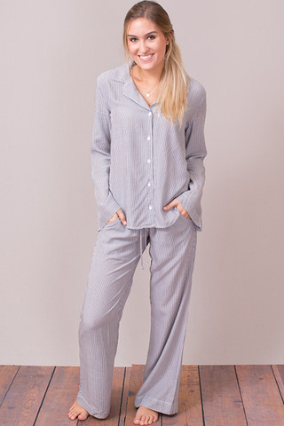 Bella Dahl Black and White Striped PJ Set