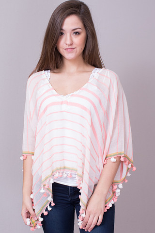 Lovestitch Coral Pom Pom Top