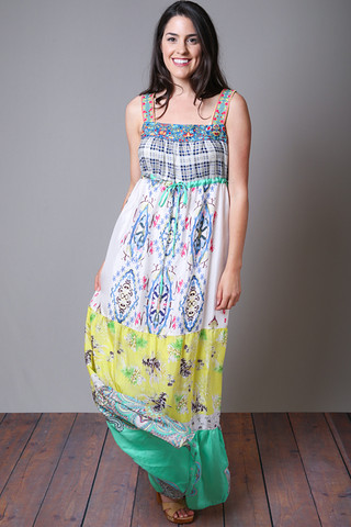 Johnny Was Collection Square Neck Maxi Dress