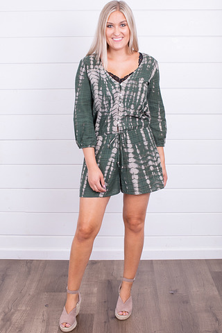 Lovestitch Green Tie Dye Romper