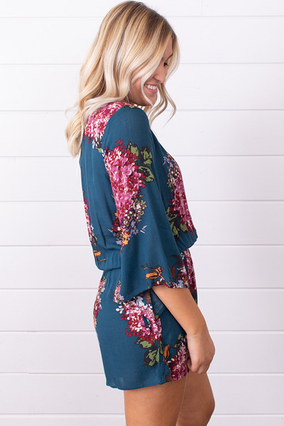 Lovestitch Teal Split Sleeve Romper 2