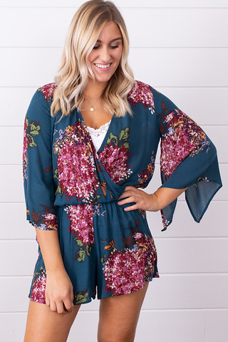 Lovestitch Teal Split Sleeve Romper