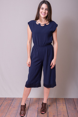 Moon River Navy Romper
