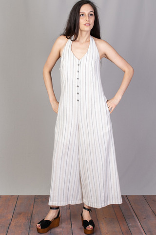 Mystree Button Down Halter Jumpsuit