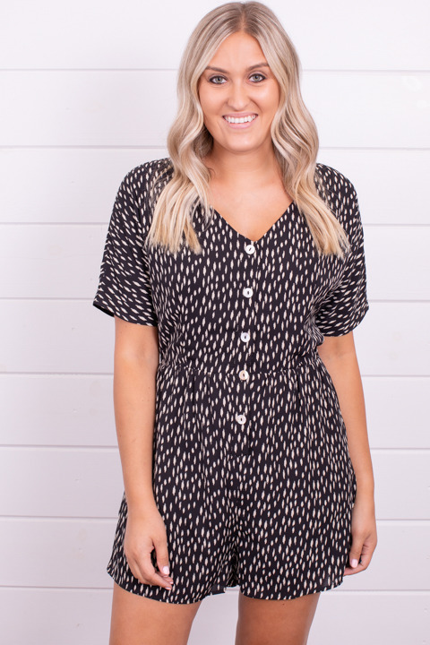 Wishlist Apparel Printed Button Down Romper