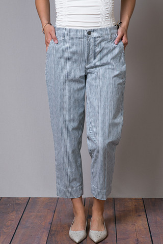 Henry & Belle Cropped Chino Railroad Stripe