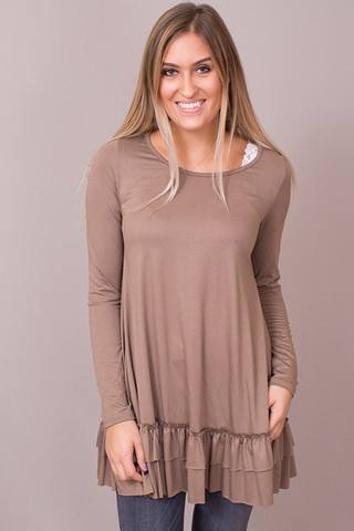 Easel Cocoa Long Sleeve Ruffle Tunic