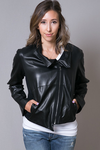 Heather by Bordeaux Leather Bomber Jacket