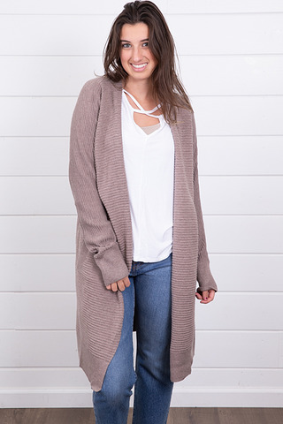 Mauve Ribbed Cardigan