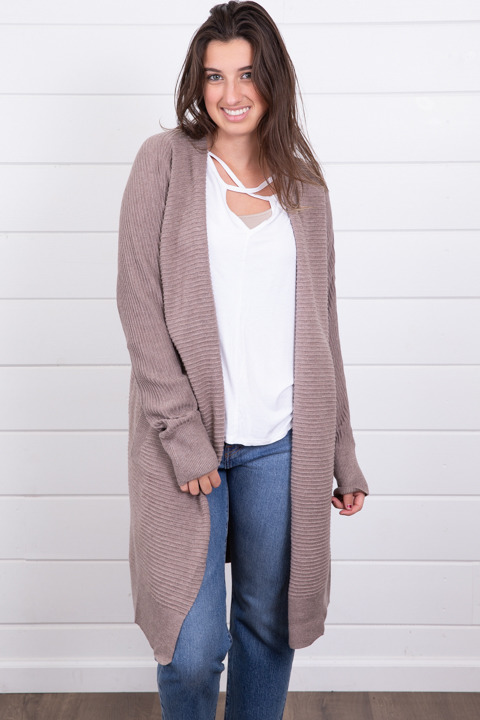 Mystree Mauve Ribbed Cardigan