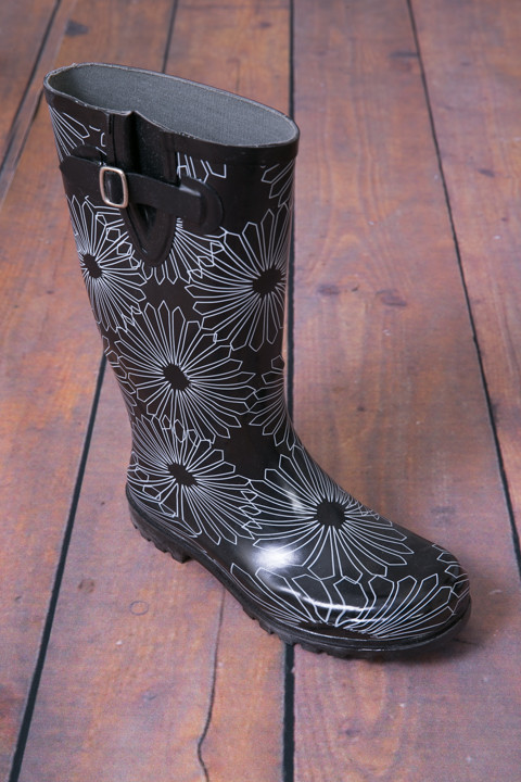 Black Paisley Rain Boot