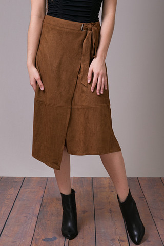 Mystree Rusty Faux Suede Skirt