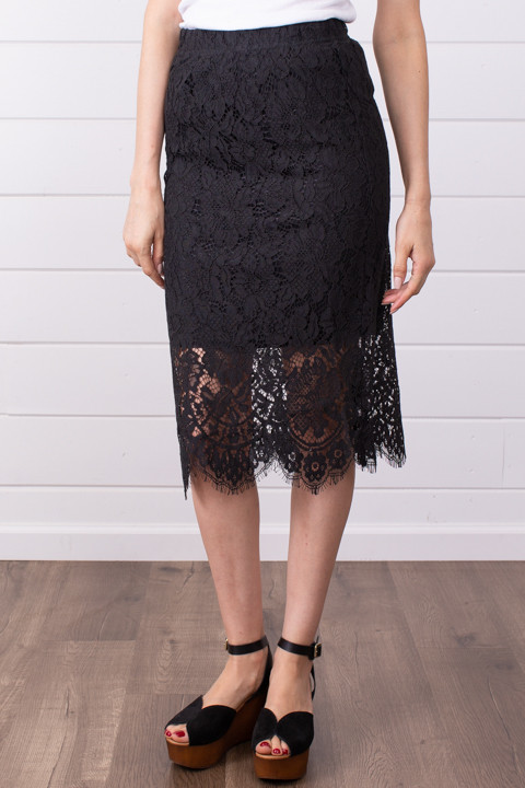 Lovestitch Black Lace Midi Skirt