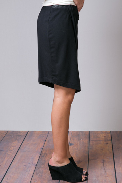 Heather by Bordeaux Leather Banded Tuck Skirt 2