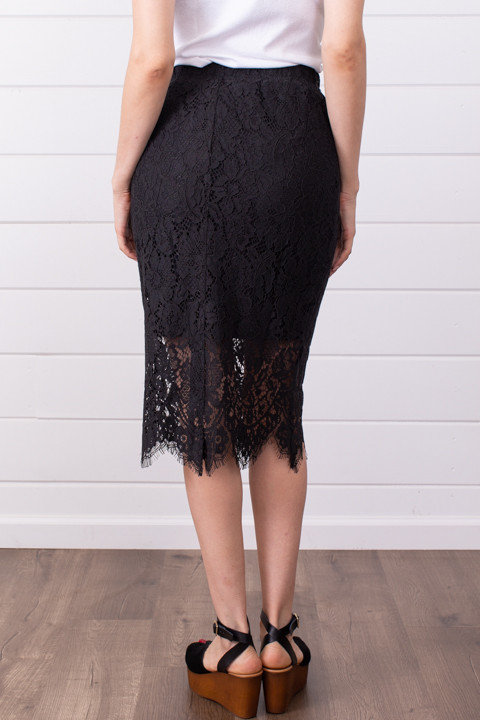 Lovestitch Black Lace Midi Skirt 4