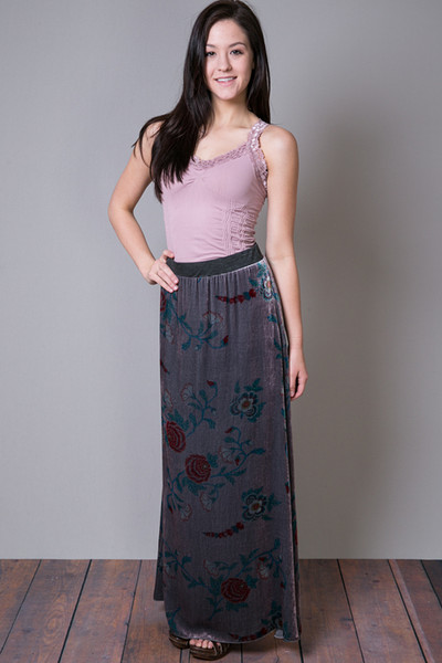Johnny Was Collection Velvet Floral Skirt 5