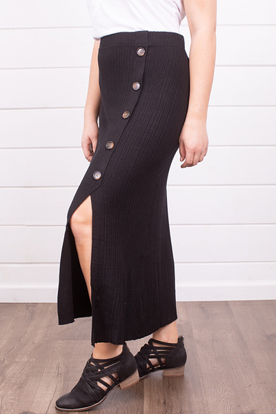 Mystree Black Button Down Skirt 3