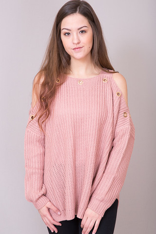 Elan International Blush Cold Shoulder Sweater
