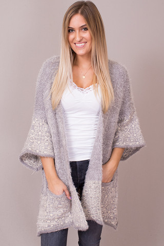 Easel Grey Mohair Open Cardigan