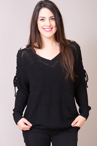 Entro Black Lace Up Sweater