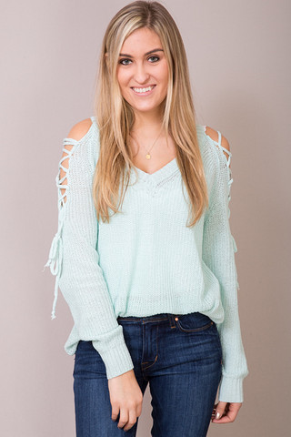 Entro Mint Lace Up Sweater