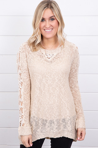 Hayden Crochet Sleeve Sweater
