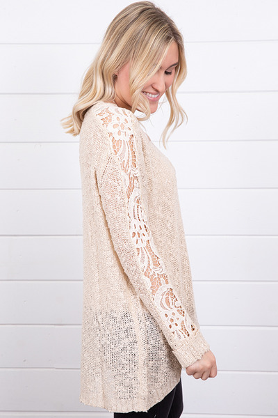 Hayden Crochet Sleeve Sweater 2