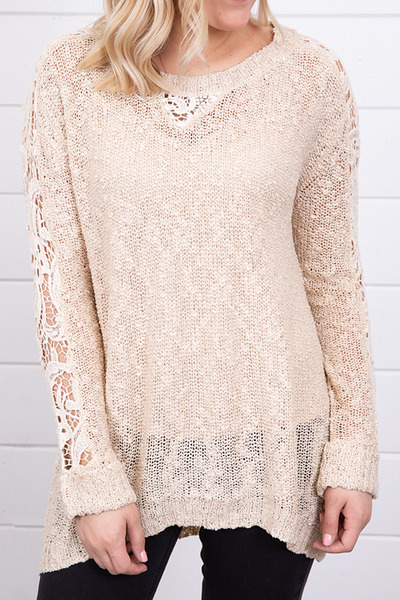 Hayden Crochet Sleeve Sweater 4
