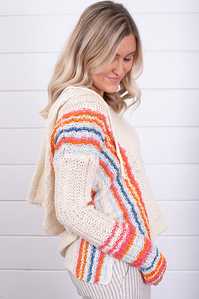 Hem and Thread Multi Color Hooded Sweater 2