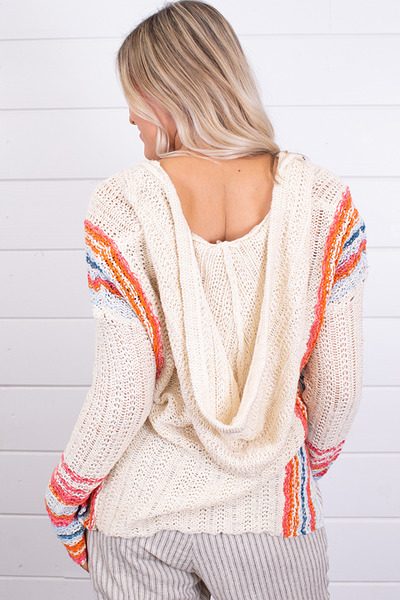 Hem and Thread Multi Color Hooded Sweater 3