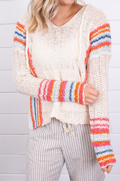 Hem and Thread Multi Color Hooded Sweater 4