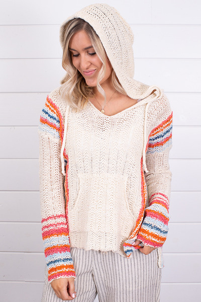 Hem and Thread Multi Color Hooded Sweater 5