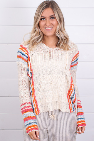Hem and Thread Multi Color Hooded Sweater