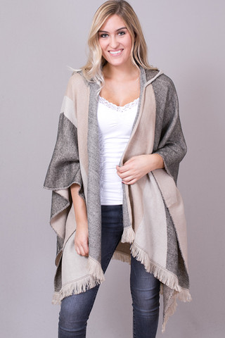 Lovestitch Hooded Plaid Scarf Poncho